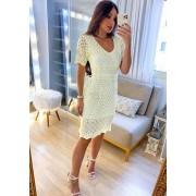 Vestido Midi Off White em Tricot
