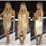 Vestido Midi Paetê  Dourado