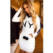 Vestido Mini Vest New York com Capuz em Tricot Branco