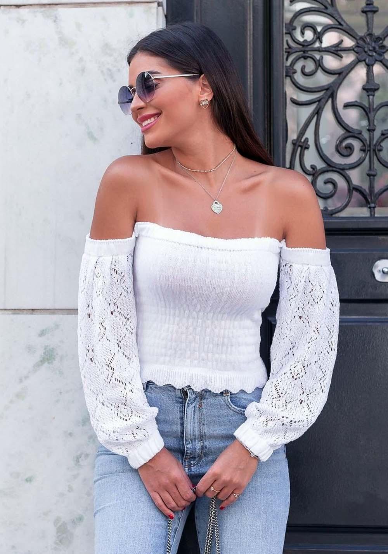 Blusa Ciganinha em Tricot Branca