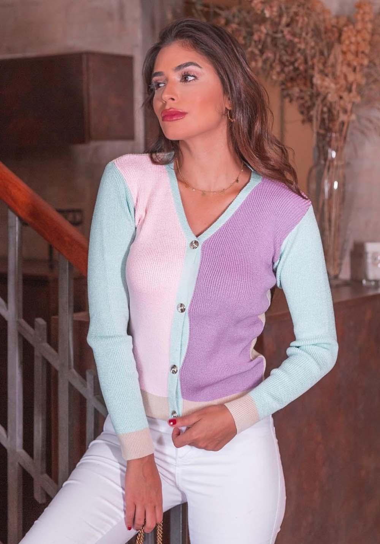 Blusa Gola V em Tricot Colorida