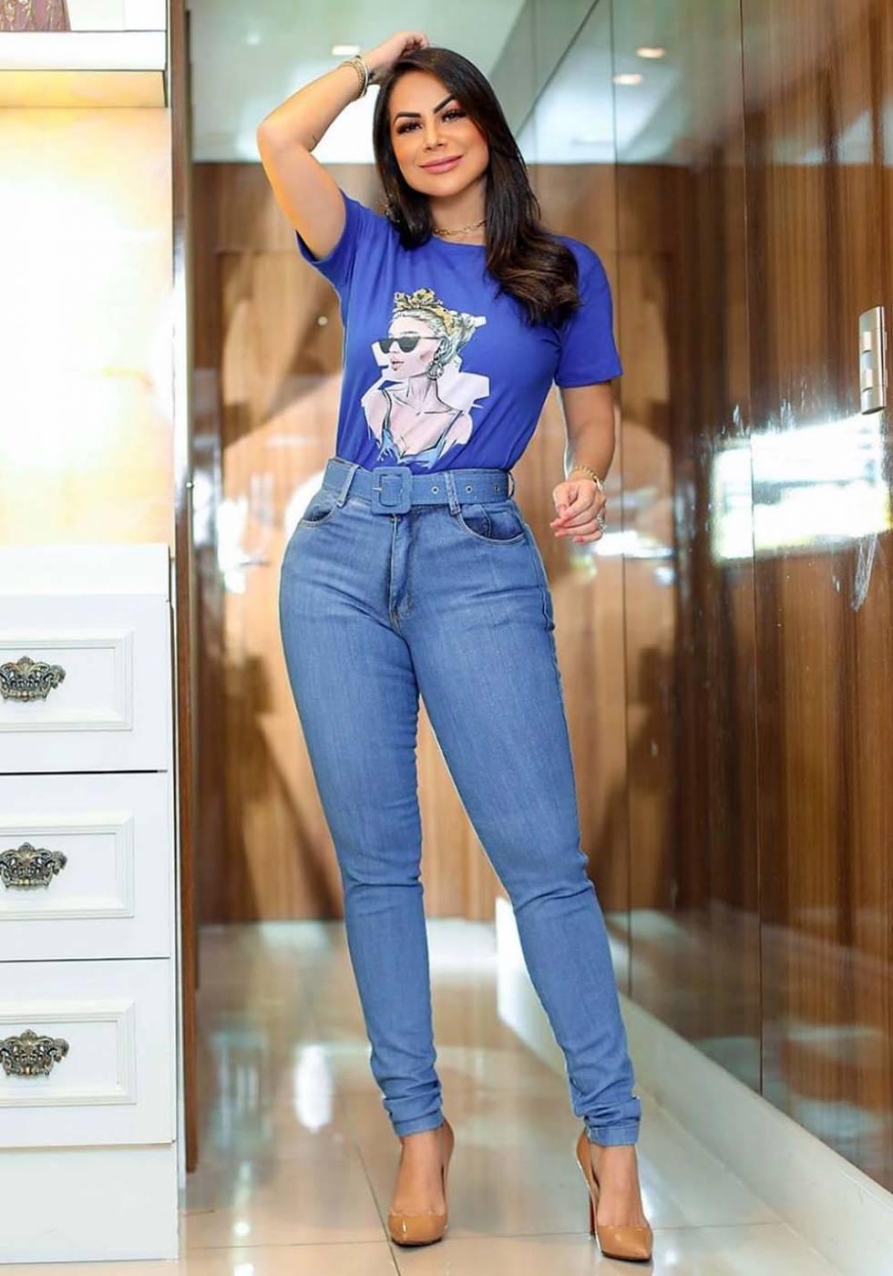 Calça Jeans Premium Básica com Cinto de Brinde