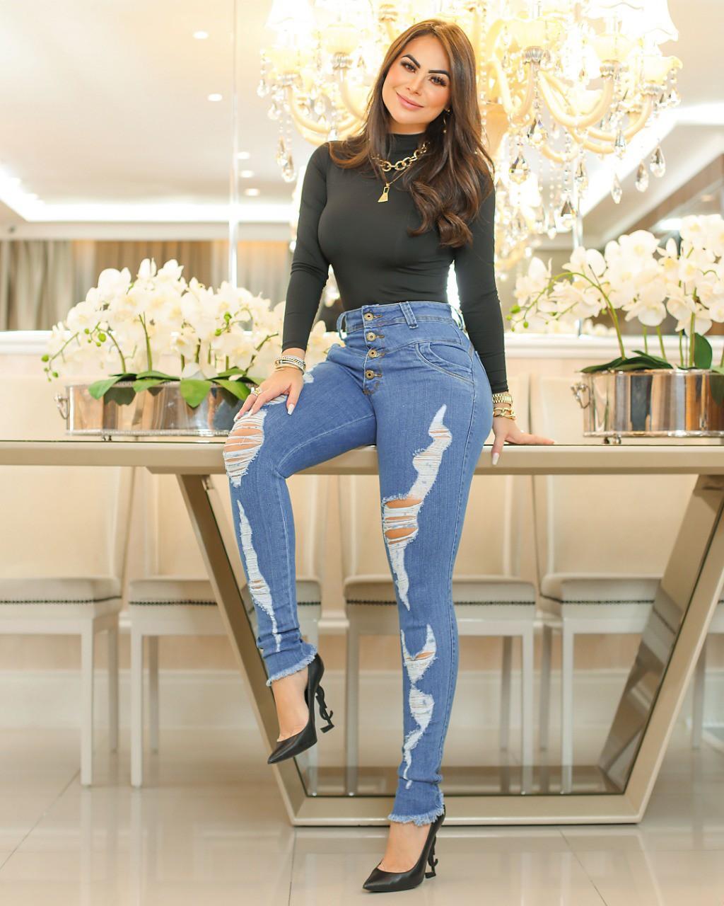 Calça Jeans Premium Cintura Alta Destroyed