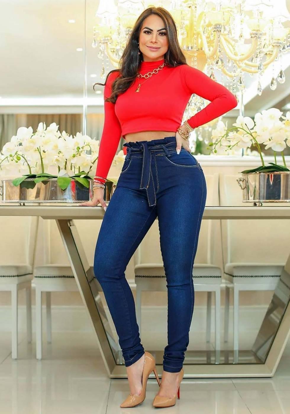 Calça Jeans Premium Cintura Alta Escura 01