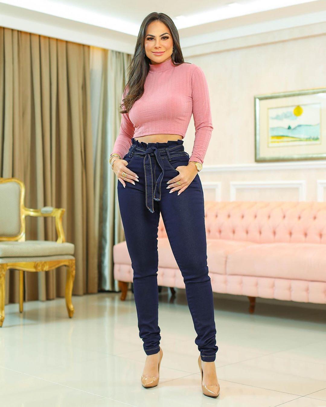 Calça Jeans Premium Cintura Alta Escura