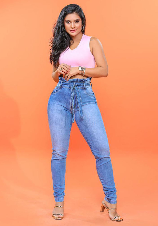 Calça Jeans Premium Cintura Alta Lavada