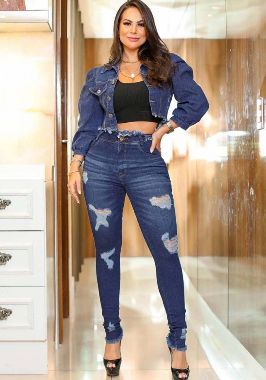 Calça Jeans Premium Destroyed Cós Desfiado