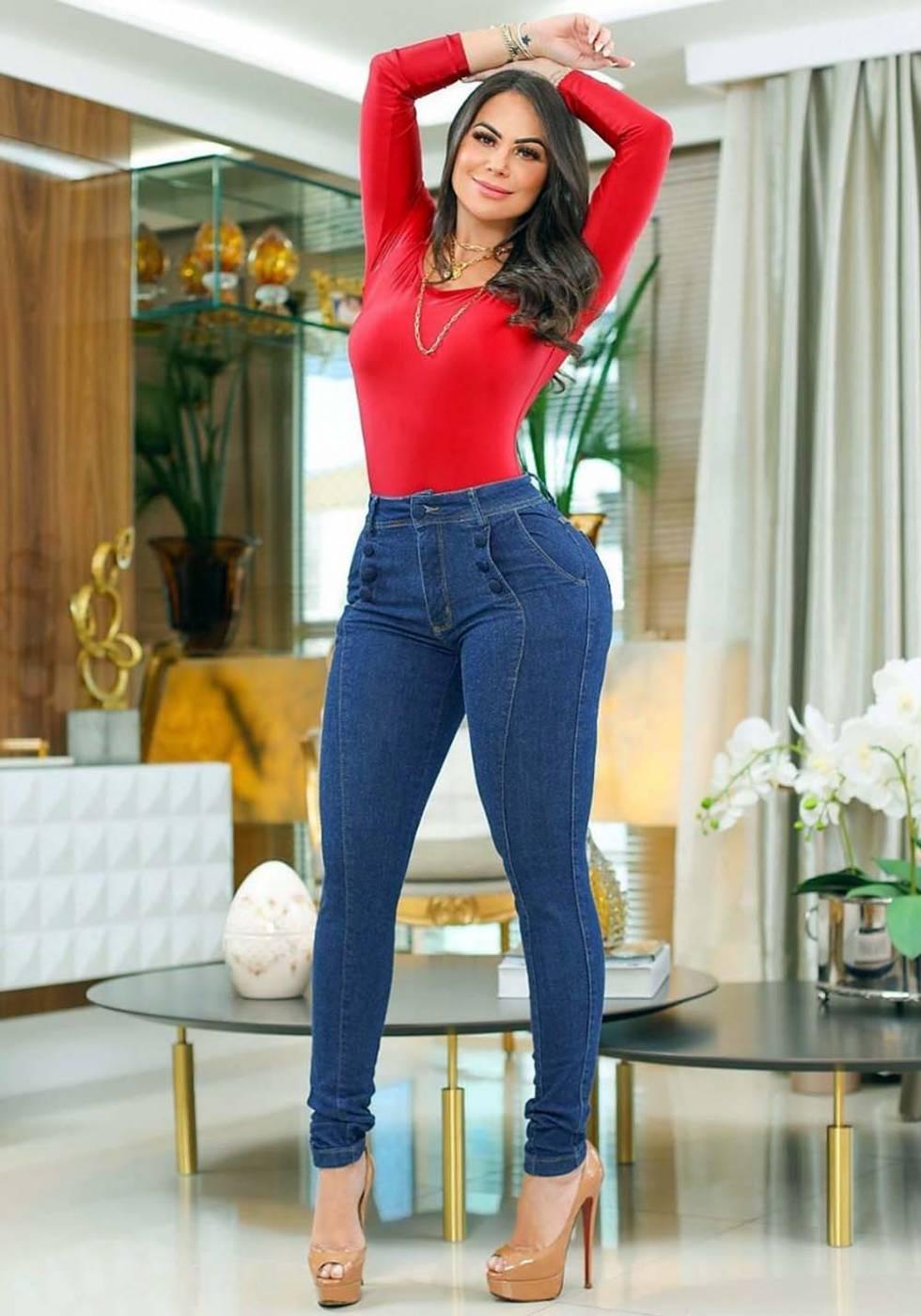Calça Jeans Premium Modelador Botões 01 - Empina Bumbum