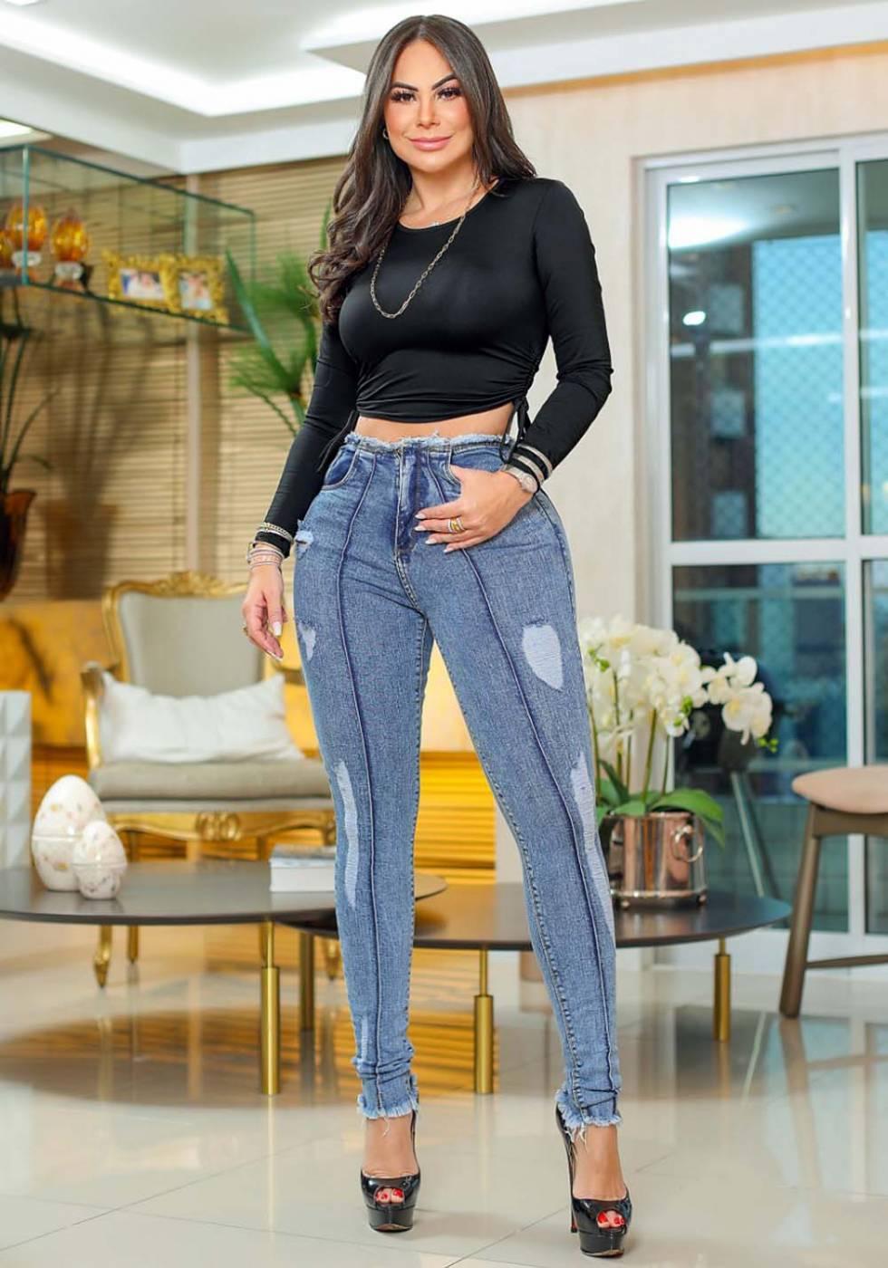 Calça Jeans Premium Modelador Destroyed 04 - Empina Bumbum
