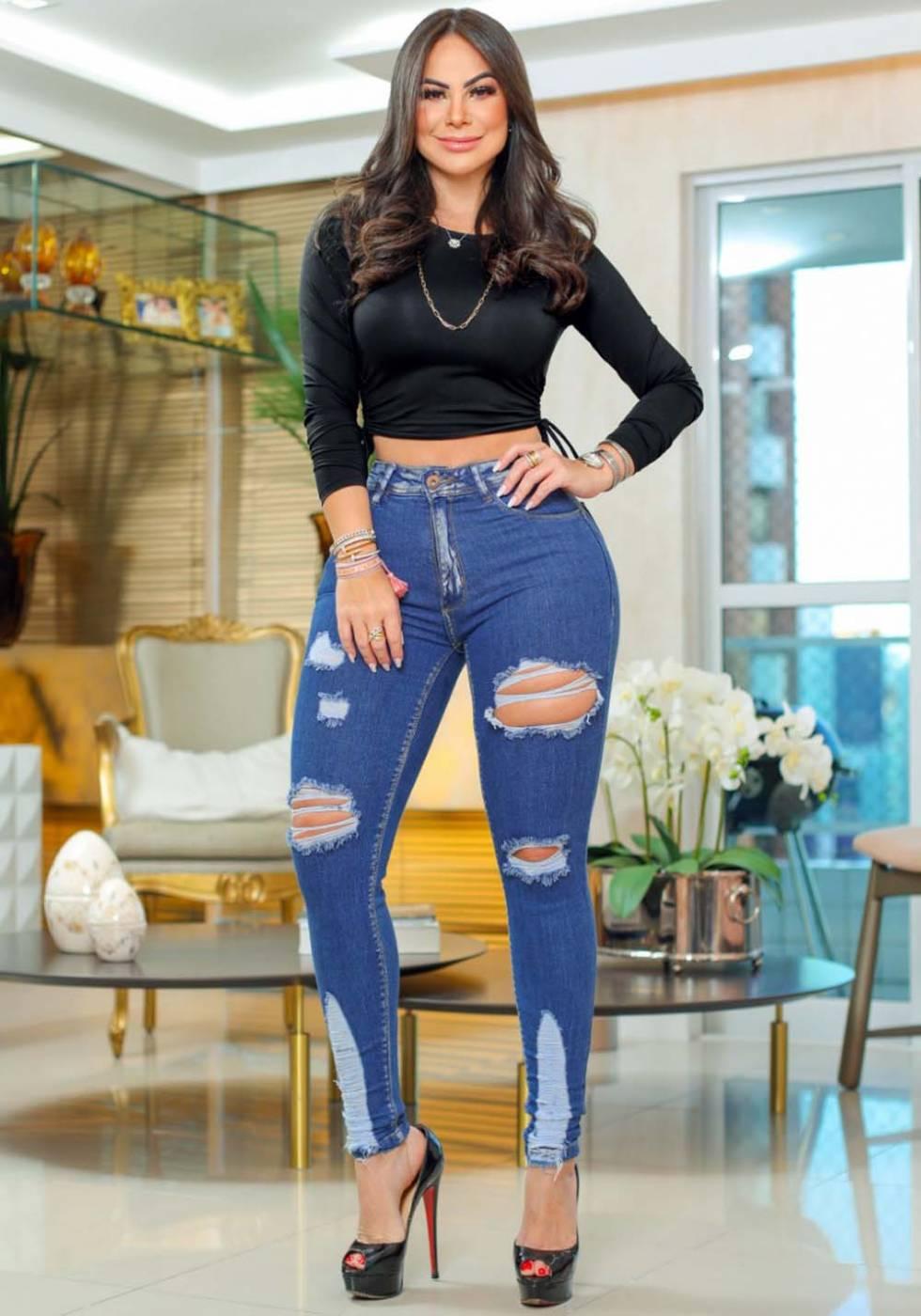 Calça Jeans Premium Modelador Destroyed 06 - Empina Bumbum