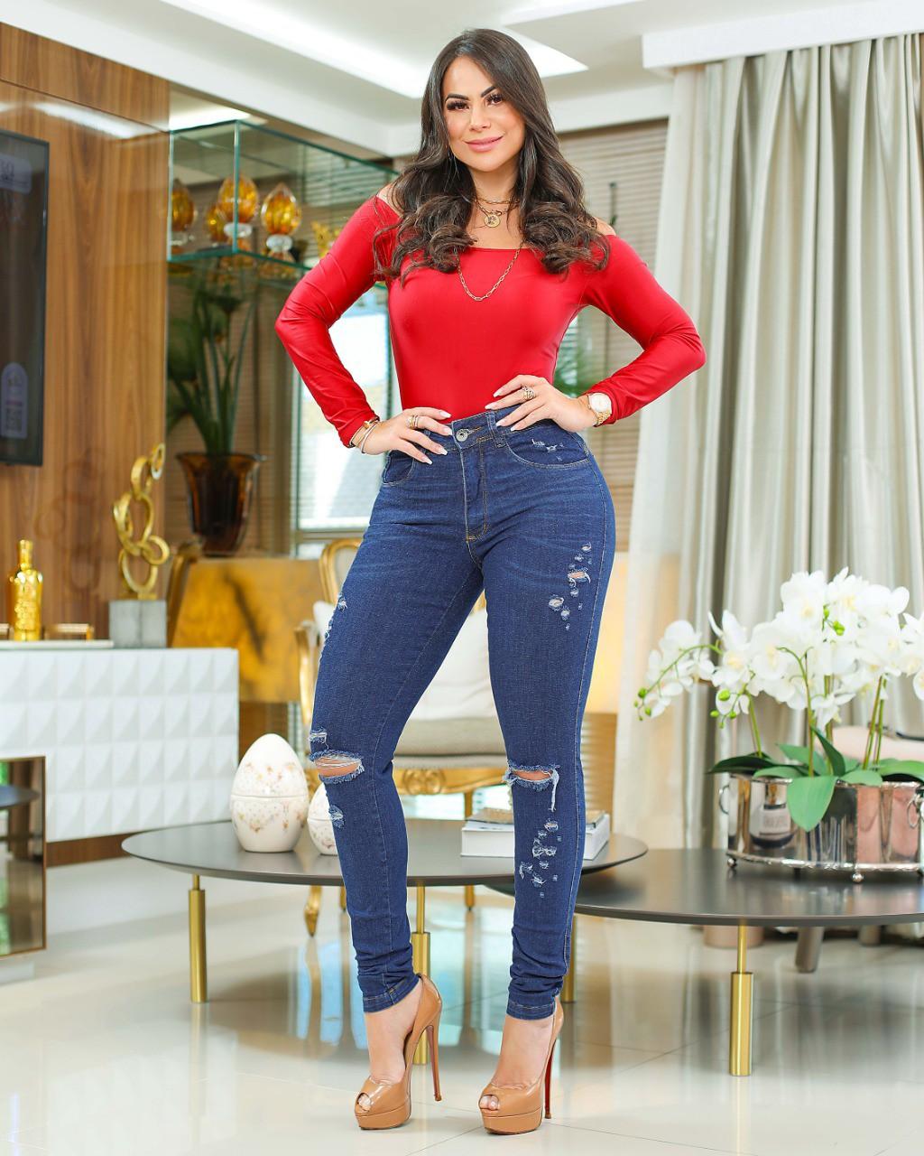 Calça Jeans Premium Modelador Rasgada - Empina Bumbum