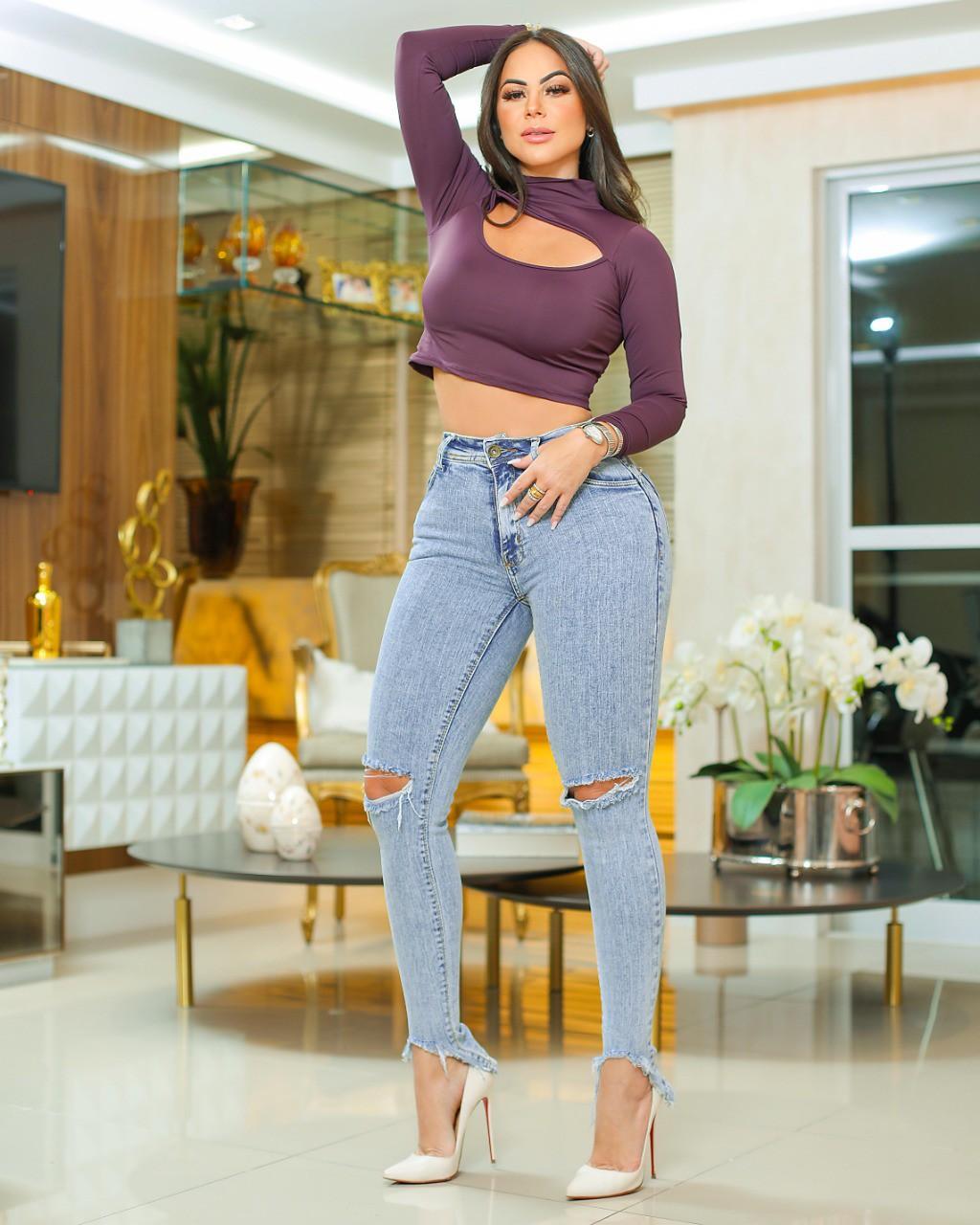 Calça Jeans Premium Modelador Rasgo no Joelho 02 - Empina Bumbum