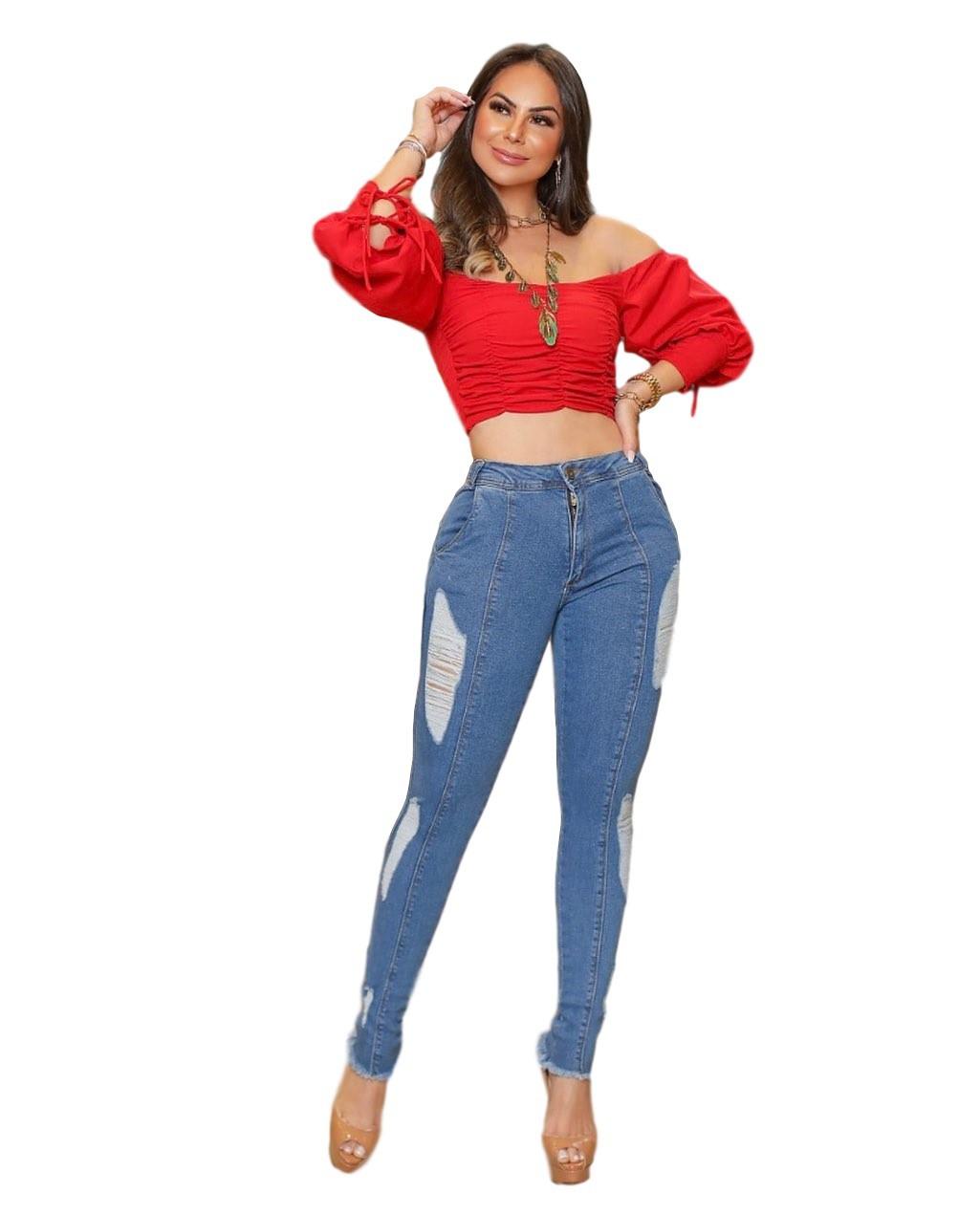 Calça Jeans Premium Modeladora Destroyed 01 - Empina Bumbum e Comprime Barriga