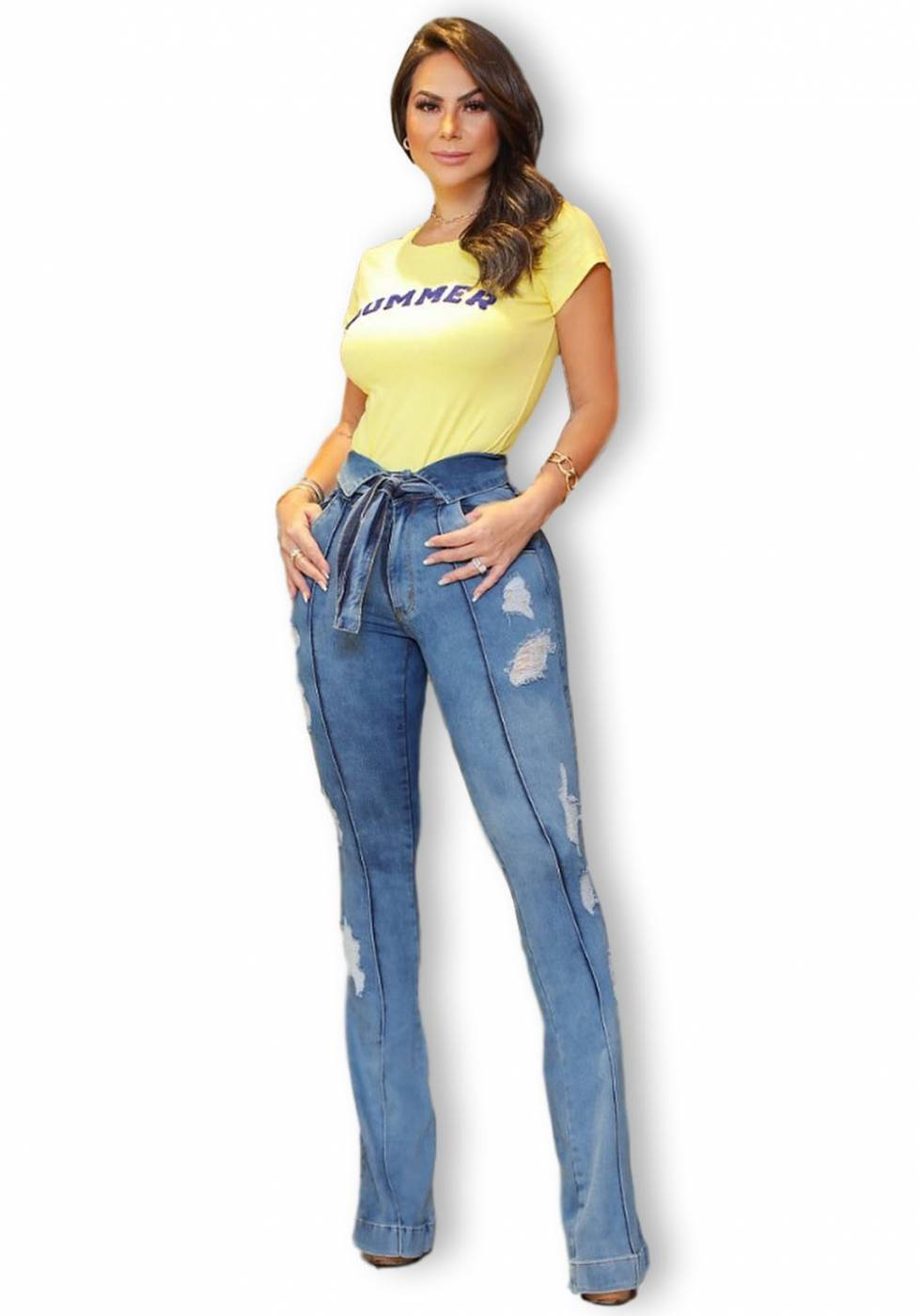 Calça Jeans Premium Modeladora Flare Destroyed  - Empina Bumbum e Comprime Barriga