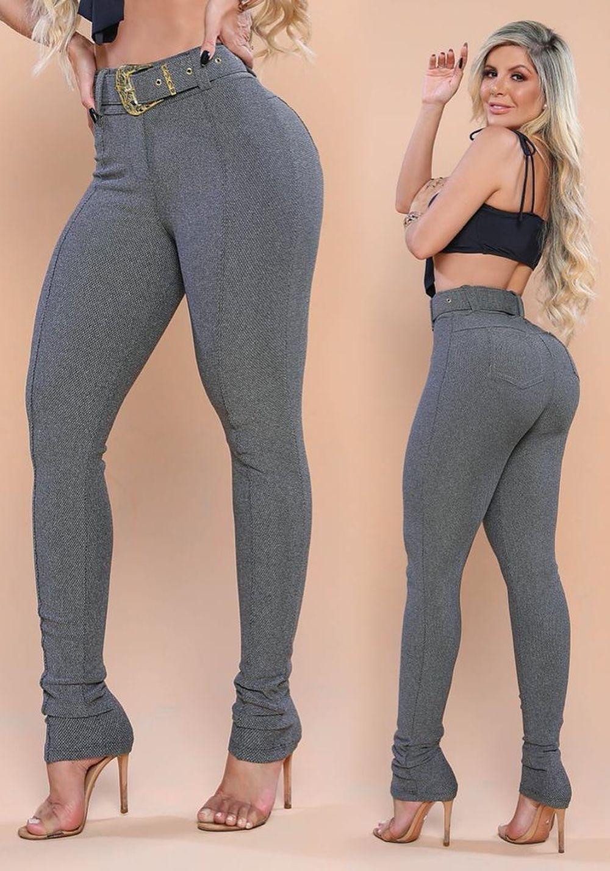 Calça Legging Modeladora Cinza com Cinto de Presente - Empina Bumbum e Comprime a Barriga