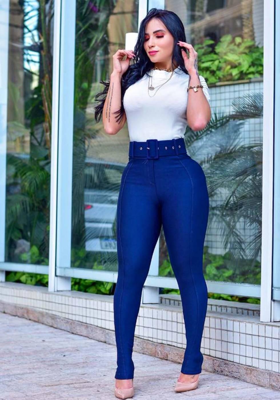 Calça Legging Modeladora com Cinto Azul - Empina Bumbum e Comprime a Barriga