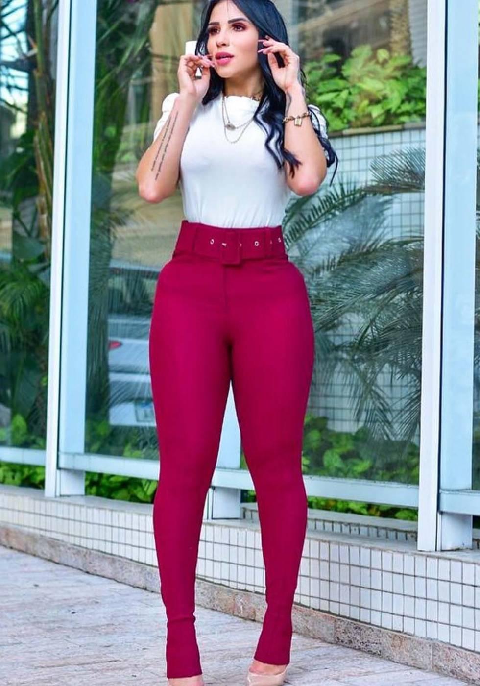 Calça Legging Modeladora com Cinto Marsala 01 - Empina Bumbum e Comprime a Barriga