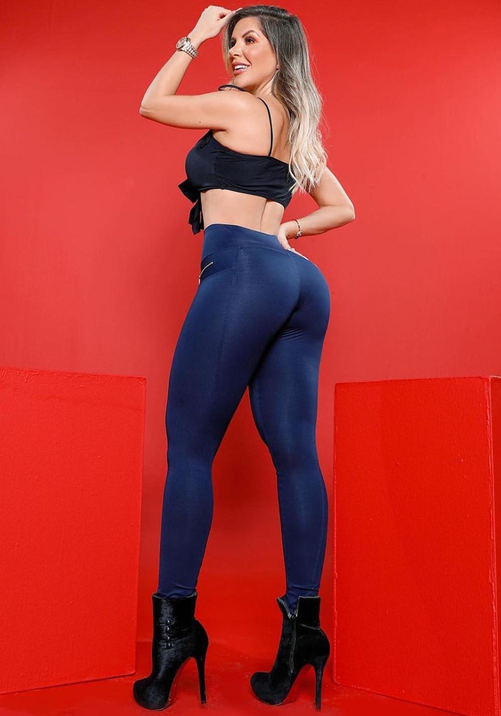 Calça Legging Modeladora com Ziper Azul 01 - Empina Bumbum e Comprime a Barriga