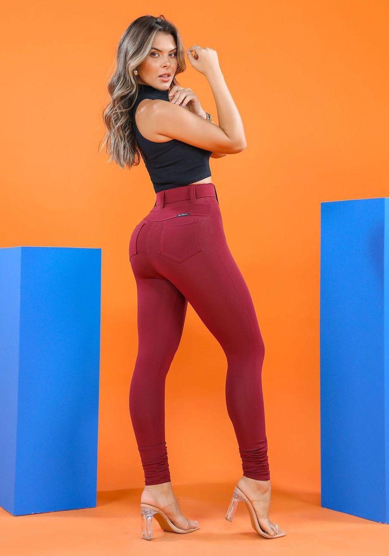 Calça Legging Modeladora Marsala com Cinto de Presente - Empina Bumbum e Comprime a Barriga