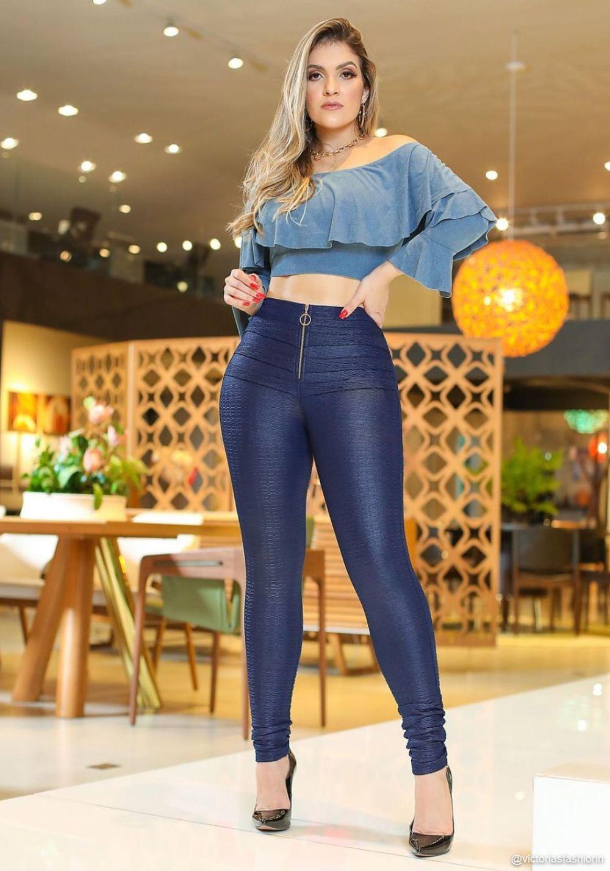 Calça Legging Modeladora Pixel Azul - Empina Bumbum e Comprime a Barriga