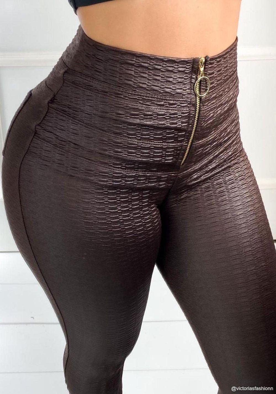 Calça Legging Modeladora Pixel Marrom - Empina Bumbum e Comprime a Barriga