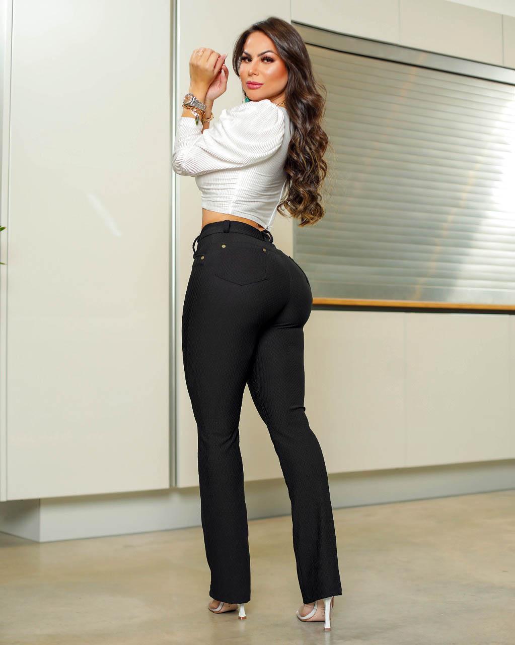 Calça Legging Modeladora Preta - Empina Bumbum e Comprime a Barriga