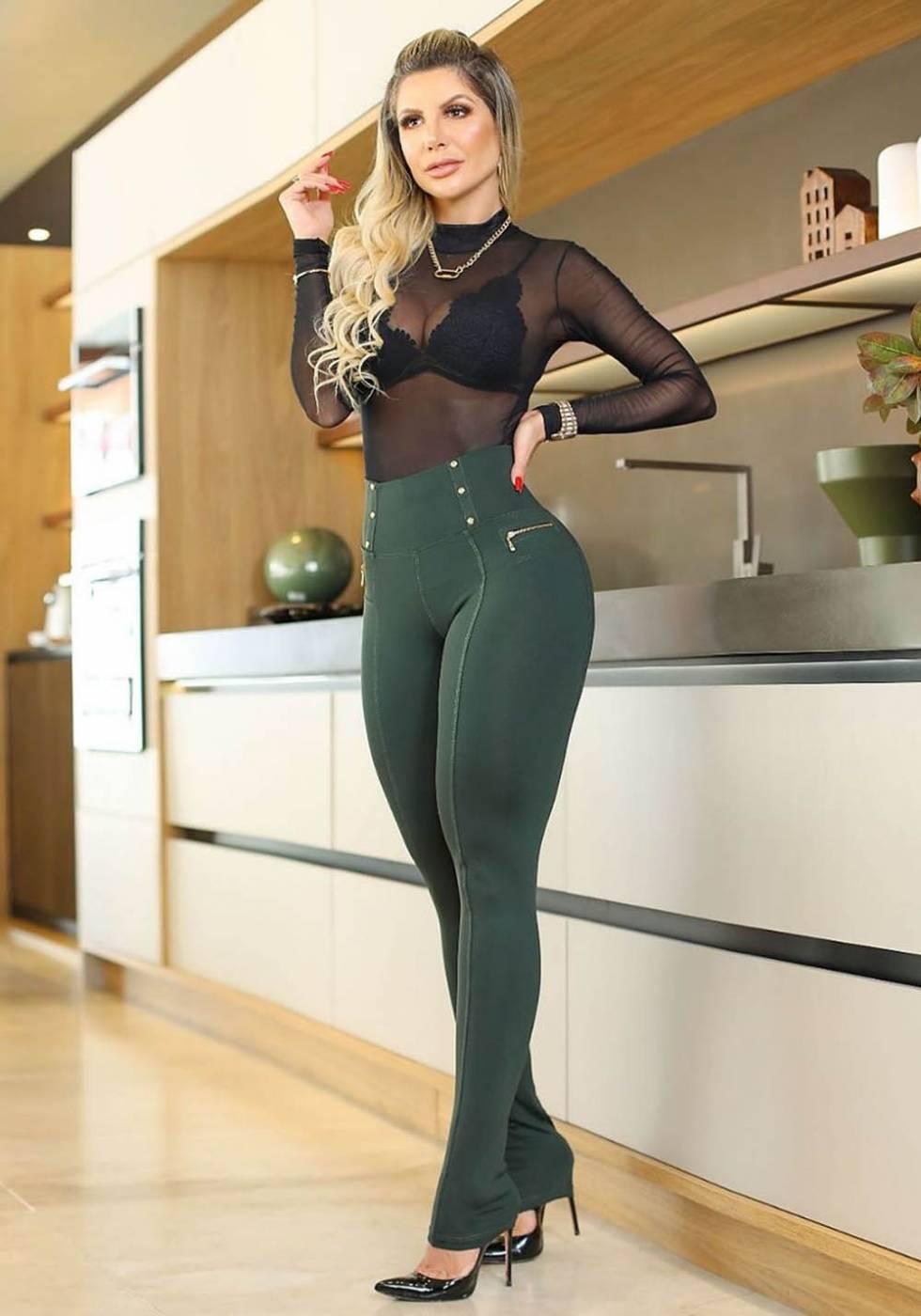 Calça Legging Modeladora Zíper Verde - Empina Bumbum e Comprime a Barriga