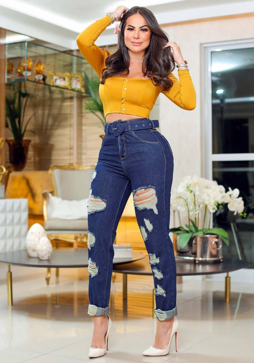 Calça Mom Jeans Premium Cintura Alta com Cinto de Brinde