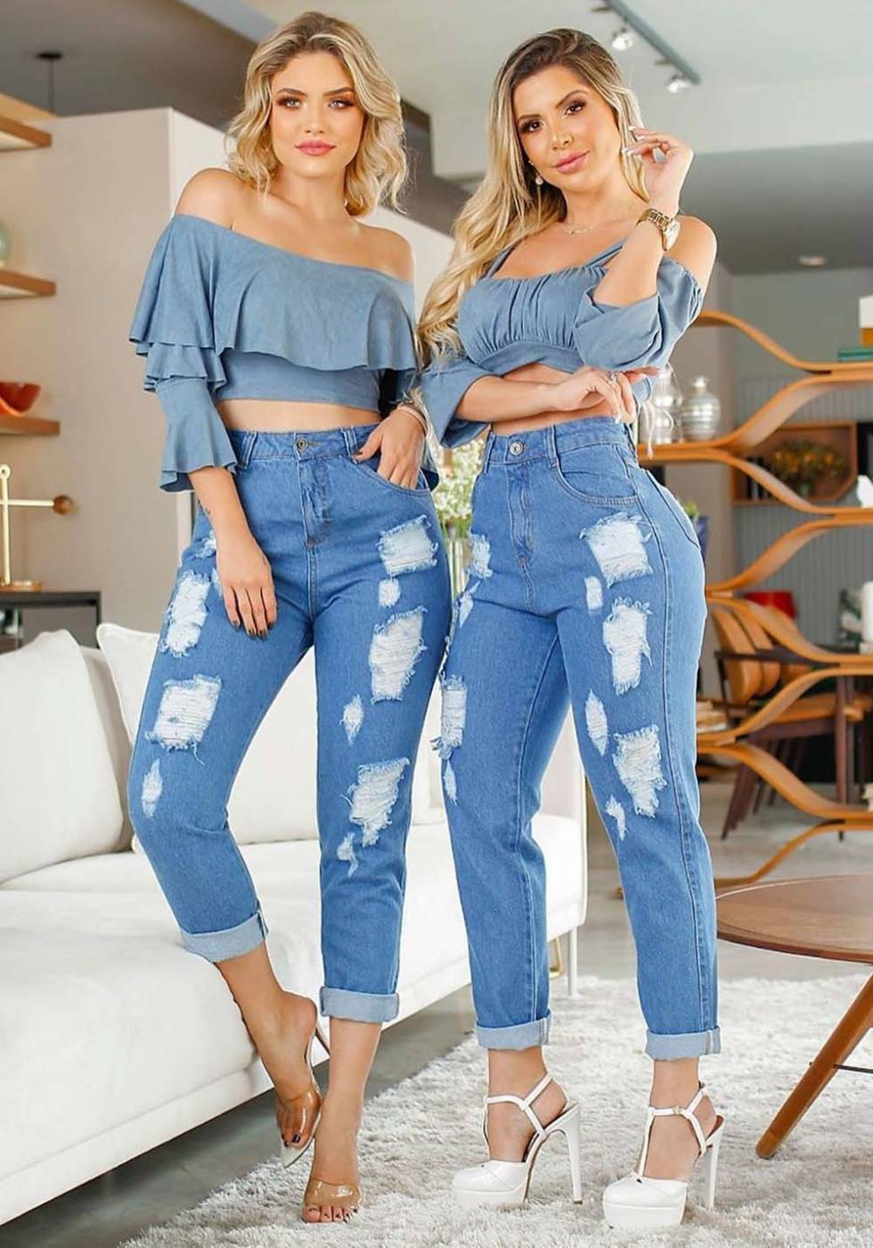 Calça Mom Jeans Premium Destroyed 01