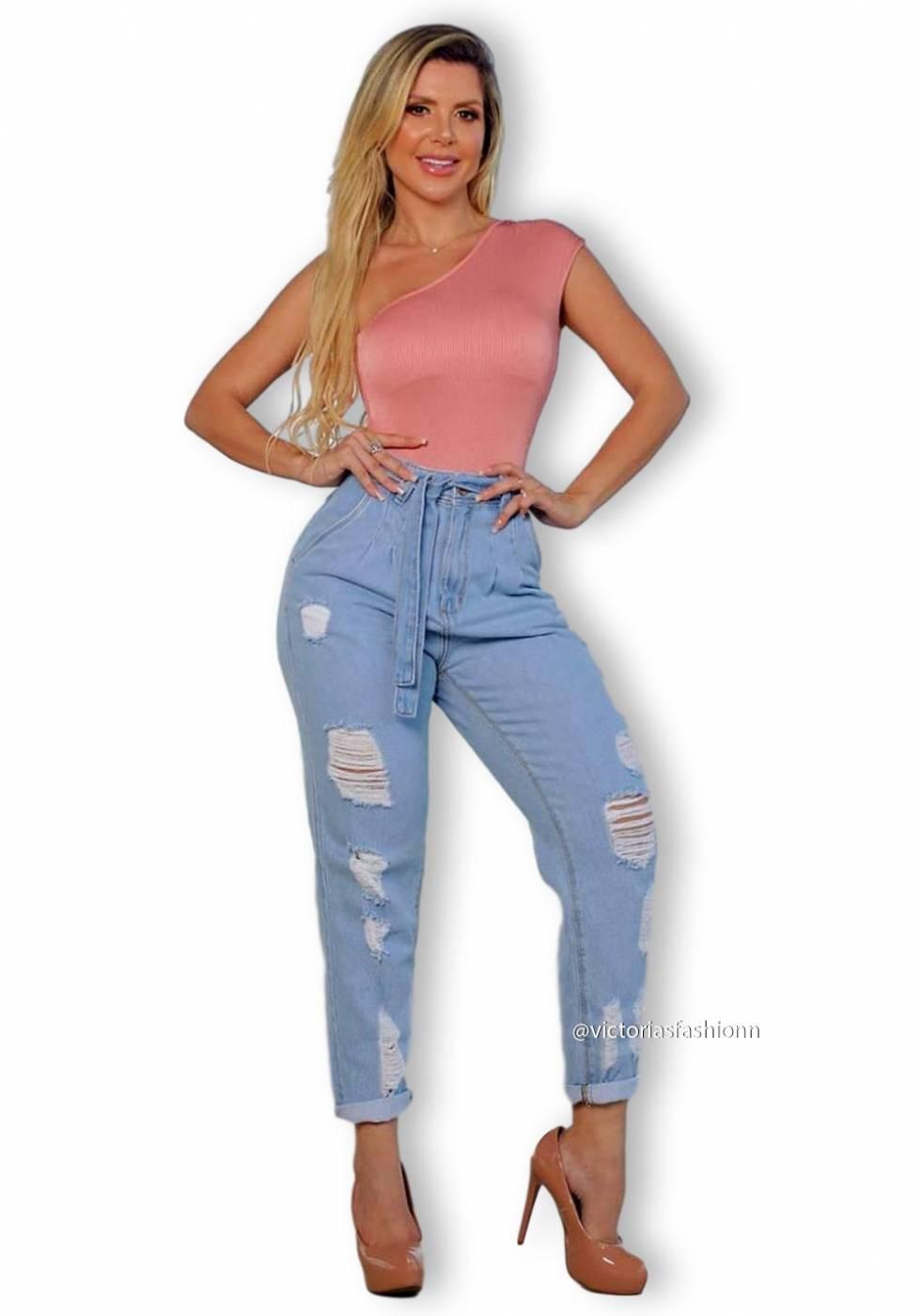 Calça Mom Jeans Premium Destroyed Clara 01