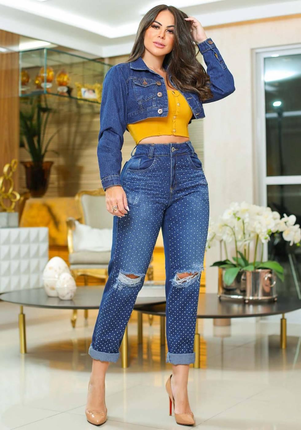 Calça Mom Jeans Premium Destroyed com Strass