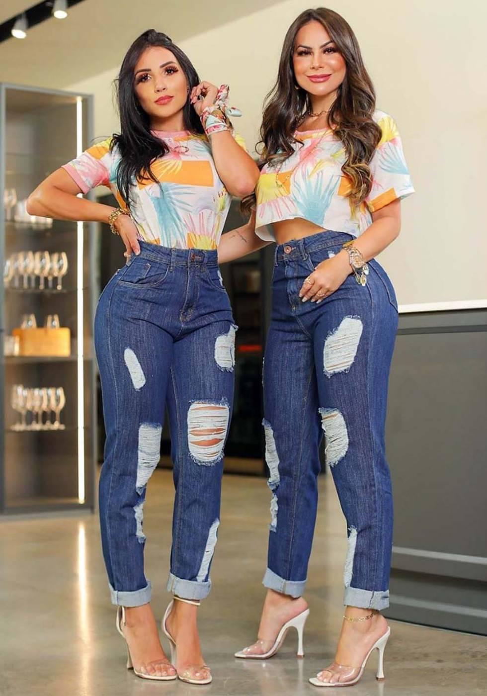 Calça Mom Jeans Premium Destroyed Escura