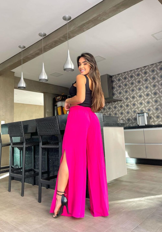 Calça Pantalona com Fenda Pink 01