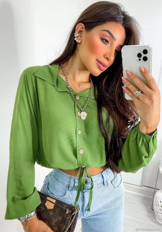 Camisa Manga Longa Viscolinho Verde