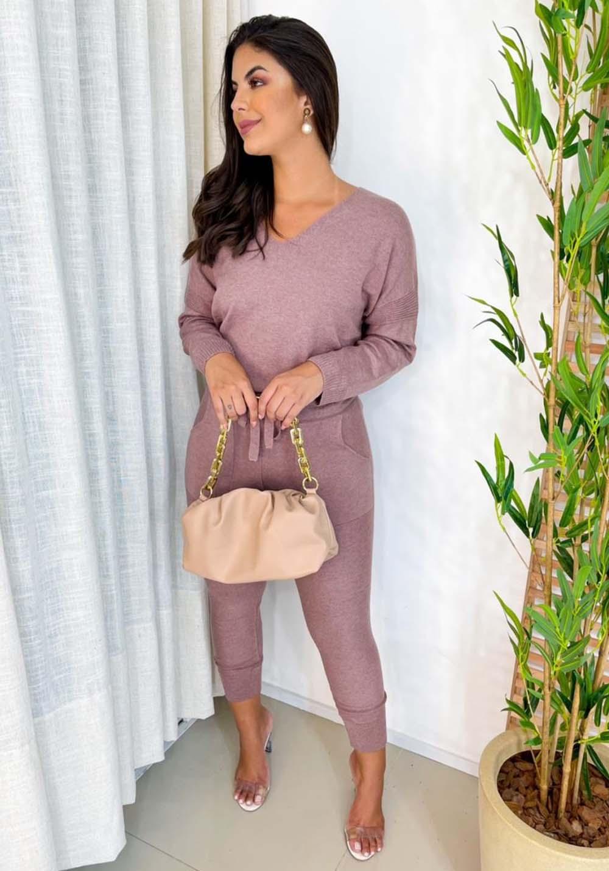 Conjunto de Blusa e Calça em Tricot Rosê