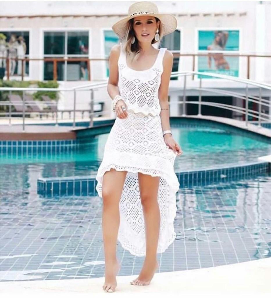 Conjunto de trico cropped e saia mullet Branco