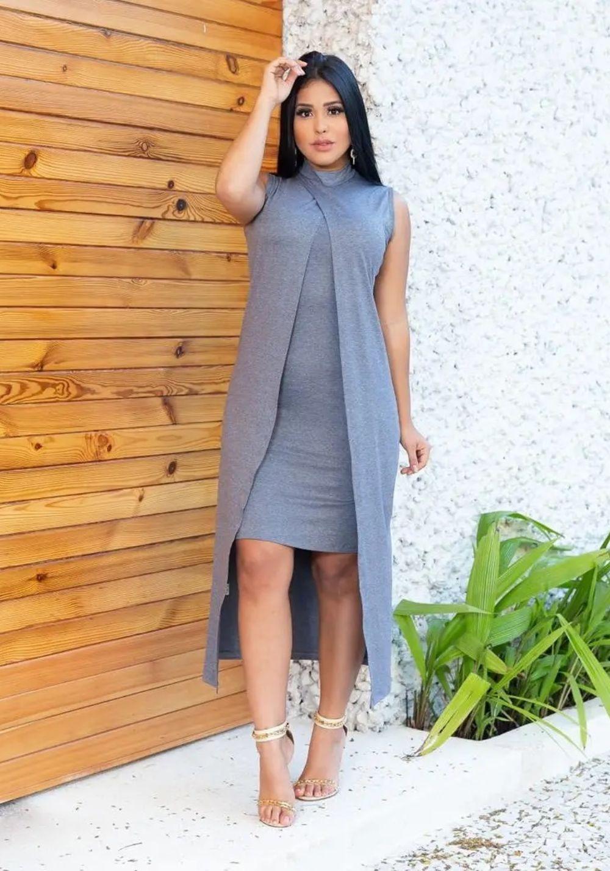 Conjunto de Vestido Tubinho + Sobreposição Cinza
