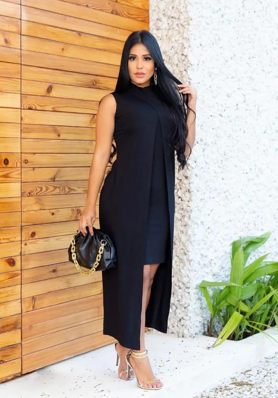 Conjunto de Vestido Tubinho + Sobreposição Preto