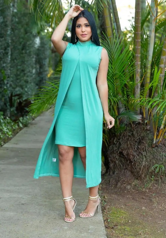 Conjunto de Vestido Tubinho + Sobreposição Verde