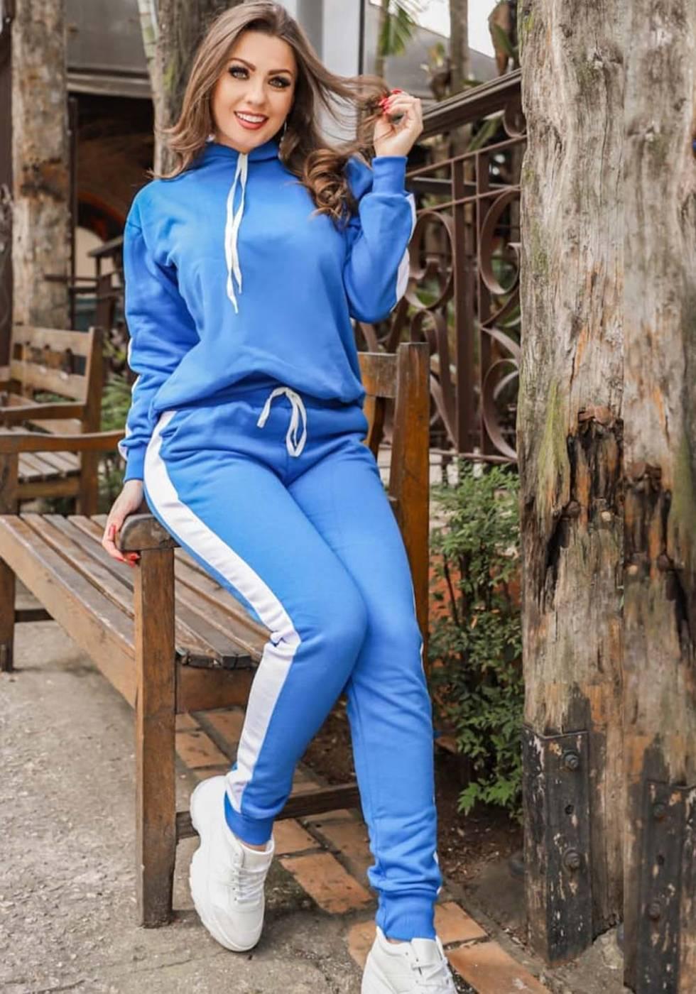 Conjunto Moletom com Capuz Faixa Azul