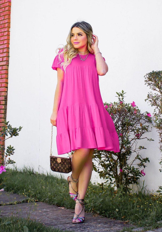 Vestido Curto Rodado Pink
