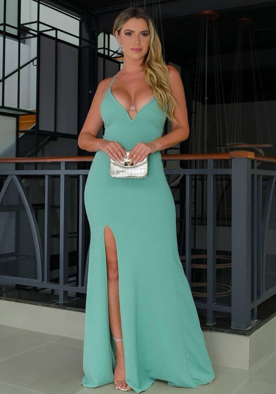 Vestido de Festa Longo Decote V lurex Verde