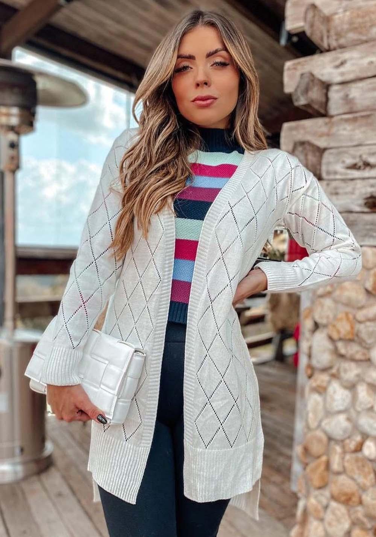 Kimono Off White em Tricot