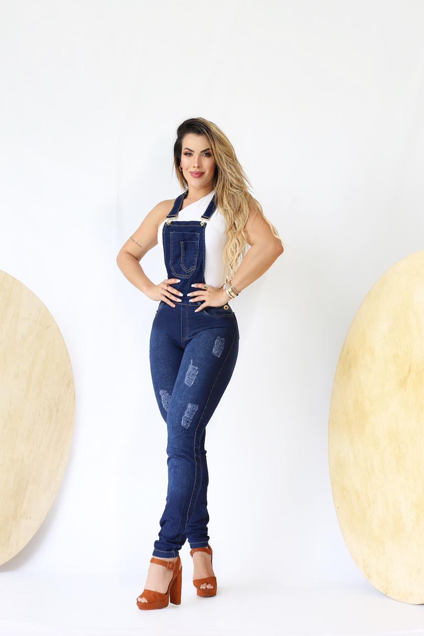 Macacão Jardineira Jeans Premium 01 - Empina Bumbum