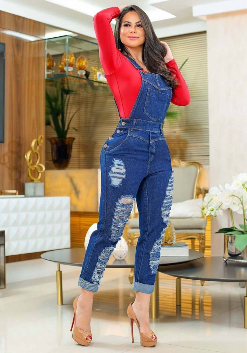 Macacão Jardineira Jeans Premium Destroyed