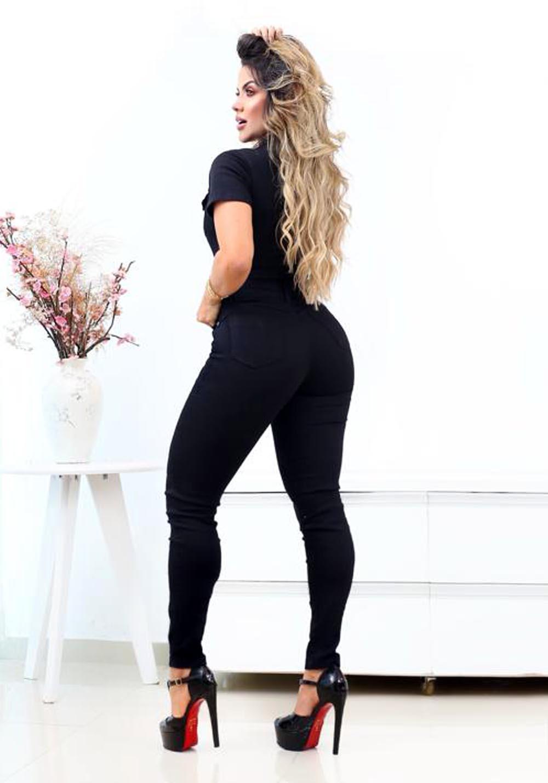 Macacão Jeans Premium Botões Preto