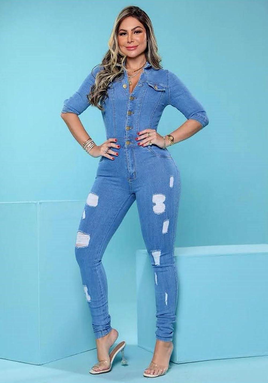 Macacão Jeans Premium com Botões Destroyed