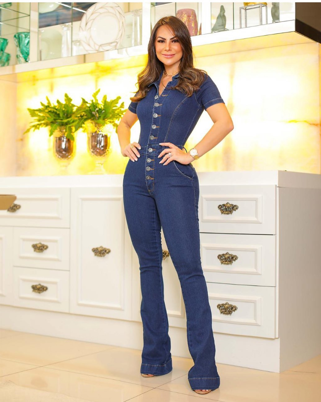 Macacão Jeans Premium Flare Escuro - Empina Bumbum