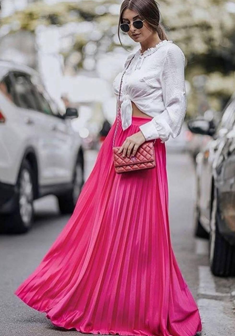 Saia Longa Plissada Pink