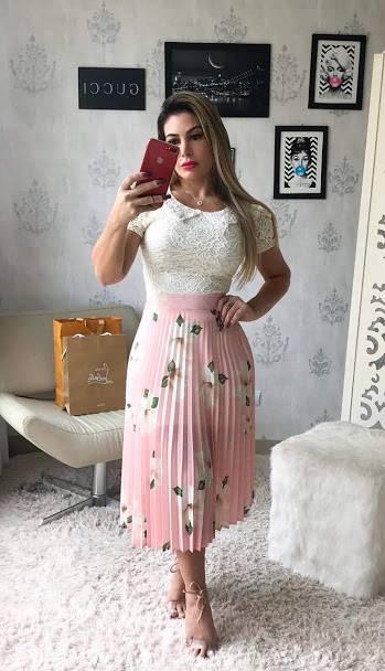 Saia Midi Plissada Floral  Rosa